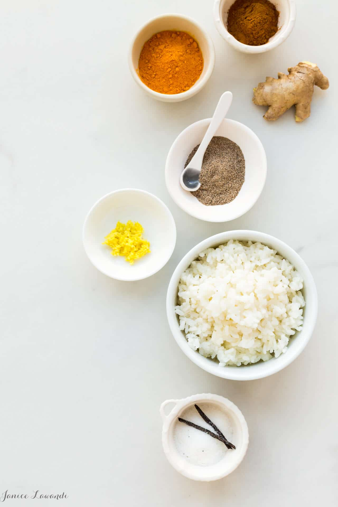 Spices to make golden milk rice pudding include turmeric, ginger, cardamom, and cinnamon