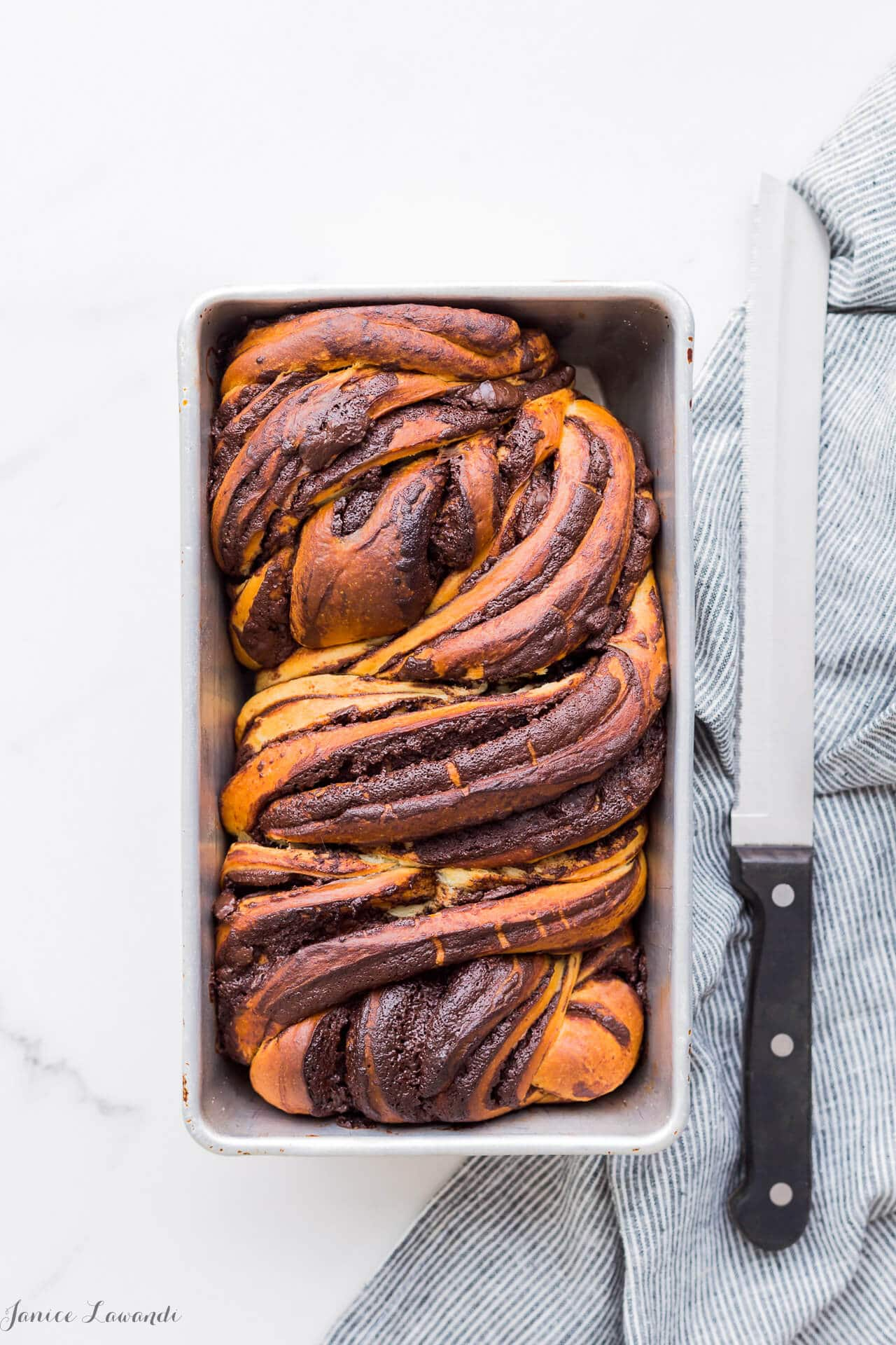A big loaf of swirled homemade chocolate babka bread