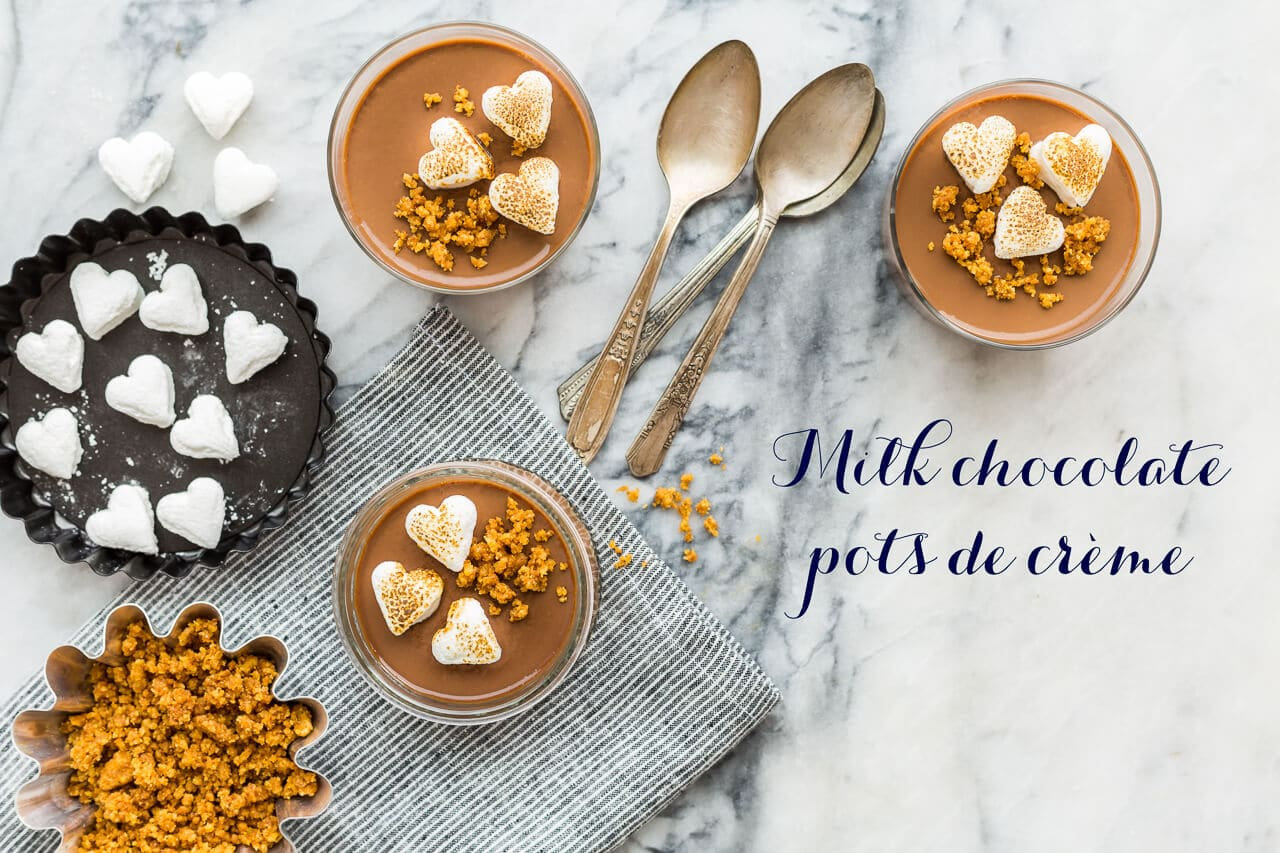 Easy milk chocolate pots de crème just like s'mores with a graham cracker cookie crumb crust and toasted marshmallows on top