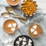 Easy milk chocolate pots de crème made just like s'mores with a graham cracker cookie crumb crust and marshmallows on top