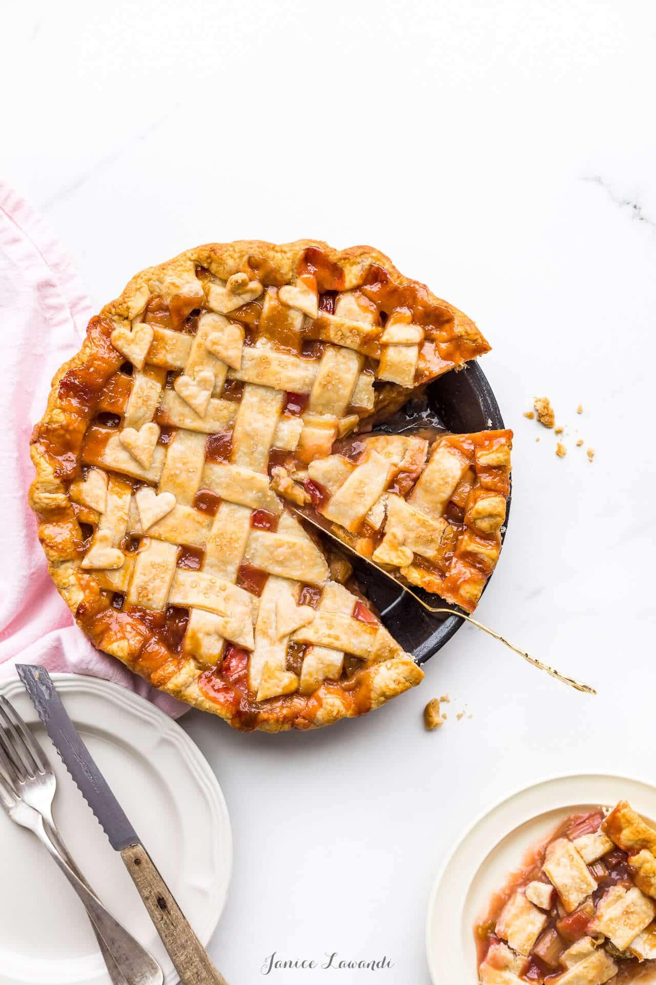 Slice of rhubarb pie with a lattice pie crust