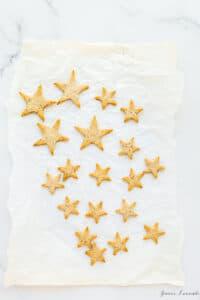 Star shaped cookie cutouts made using tart dough scraps
