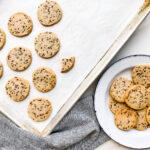 a sheet pan of shortbread cookies