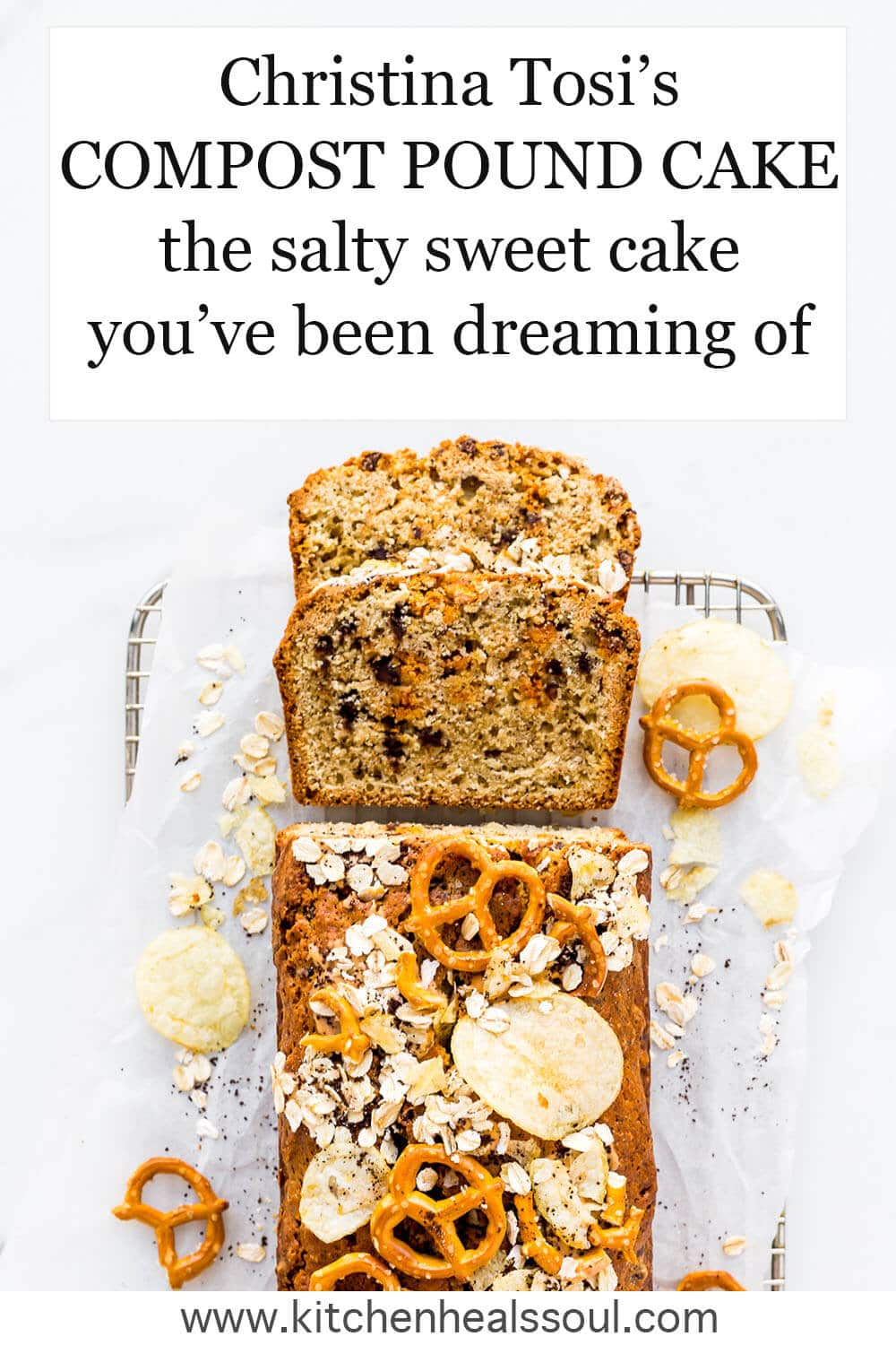 Sliced compost pound cake baked in a loaf pan and toped with pretzels, chips, oats, coffee grinds, and made with chocolate chips and butterscotch morsels