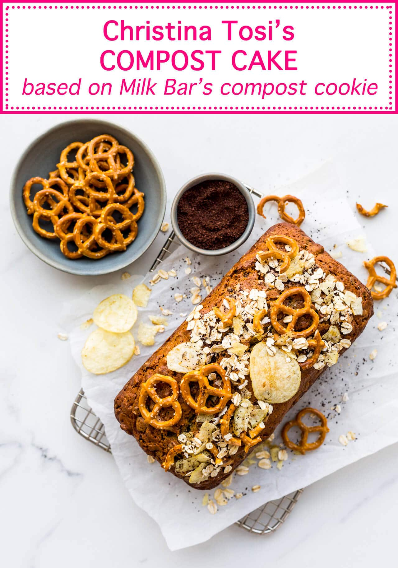 Everything but the kitchen sink loaf cake on a cooling rack with pretzel and potato chip toppings, also oats and ground coffee