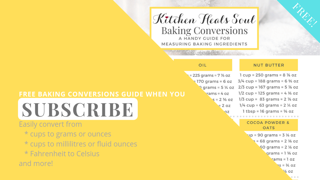Subscribe to receive free baking ingredients conversion guide