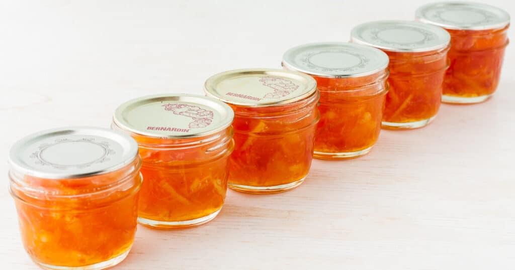 6 small jars of homemade orange marmalade