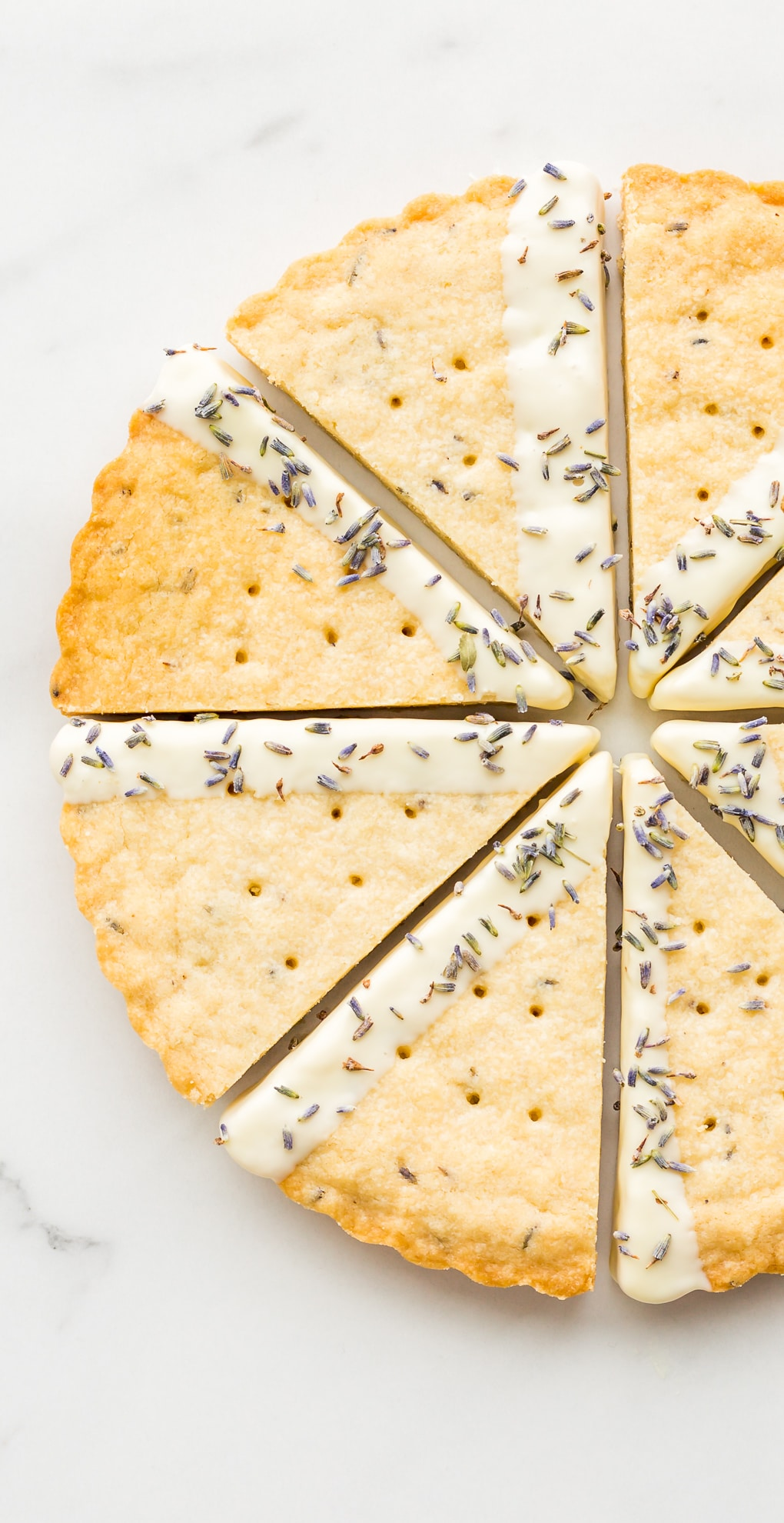 March 2019 smartphone wallpaper of wedges of lavender shortbread cookies dipped in white chocolate and dried lavender buds