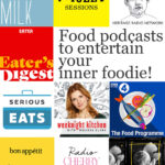 Logos of food podcasts spilled milk, violet sessions, cooking issues, eater's digest, serious eats, weeknight cooking with Melissa Clark, The Food Programme, Bon Appétit Foodcast, Radio Cherry Bomb, Proof