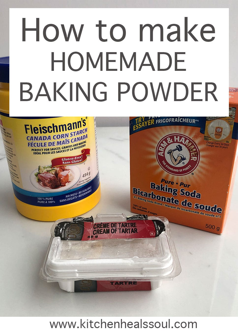 How to make homemade baking powder from containers of cornstarch, baking soda, and cream of tartar