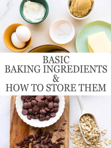 Measured out baking ingredients, including 2 large eggs, baking powder, baking soda, salt, brown sugar, butter, milk chocolate and chopped chocolate, and rolled oats in a scoop