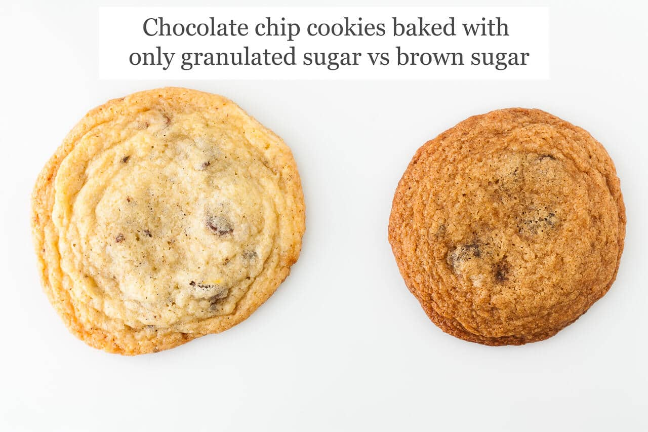 Two chocolate chip cookies side by side, one is made with only granulated sugar so thinner, lighter and more spread out, the other is baked with only brown sugar so thicker, darker, brown colour