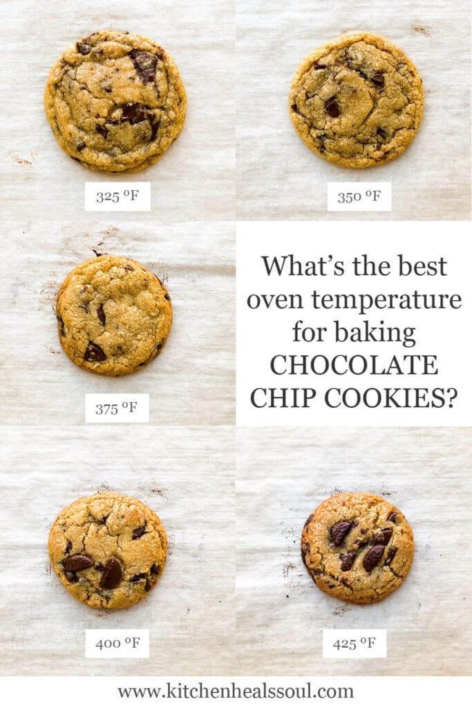 Image showing chocolate chip cookies baked at different oven temperatures: at 325F, cookies are more spread out, but they progressively spread left as you increase oven temperature all the way to 425F leading to a thicker more squat cookie that browns more on the edges