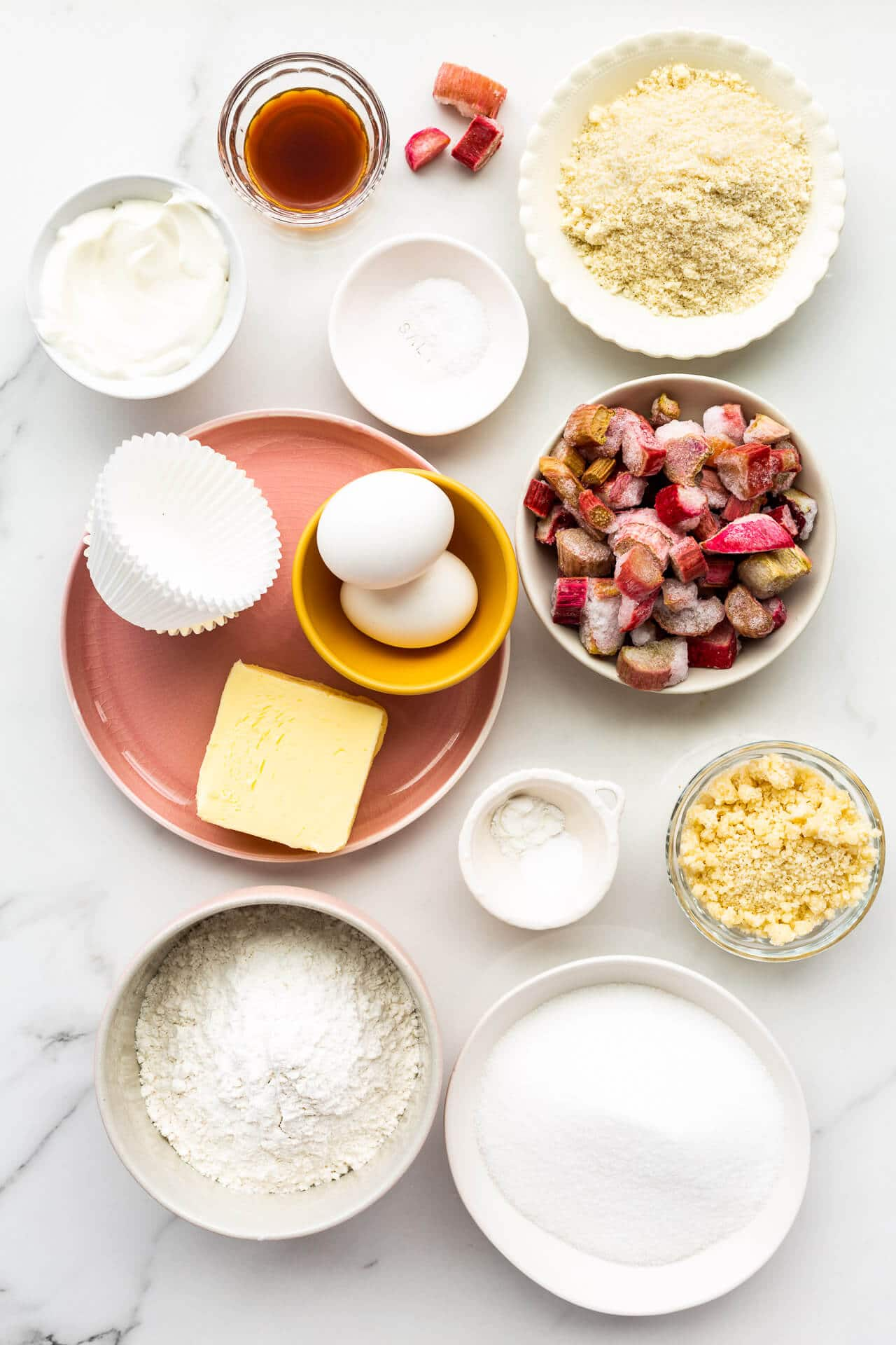 Ingredients for rhubarb streusel muffins