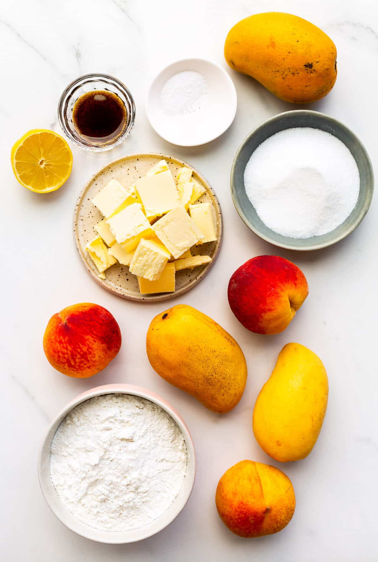 Ingredients for peach mango pie measured out