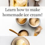 Collage of ice cream pictures with ice cream scooper and pan of ice cream in top image, 3 small bowls of ice cream with wooden spoons in middle image, and a speckled plate with a scoop of ice cream and cone, plus black spoon on bottom image