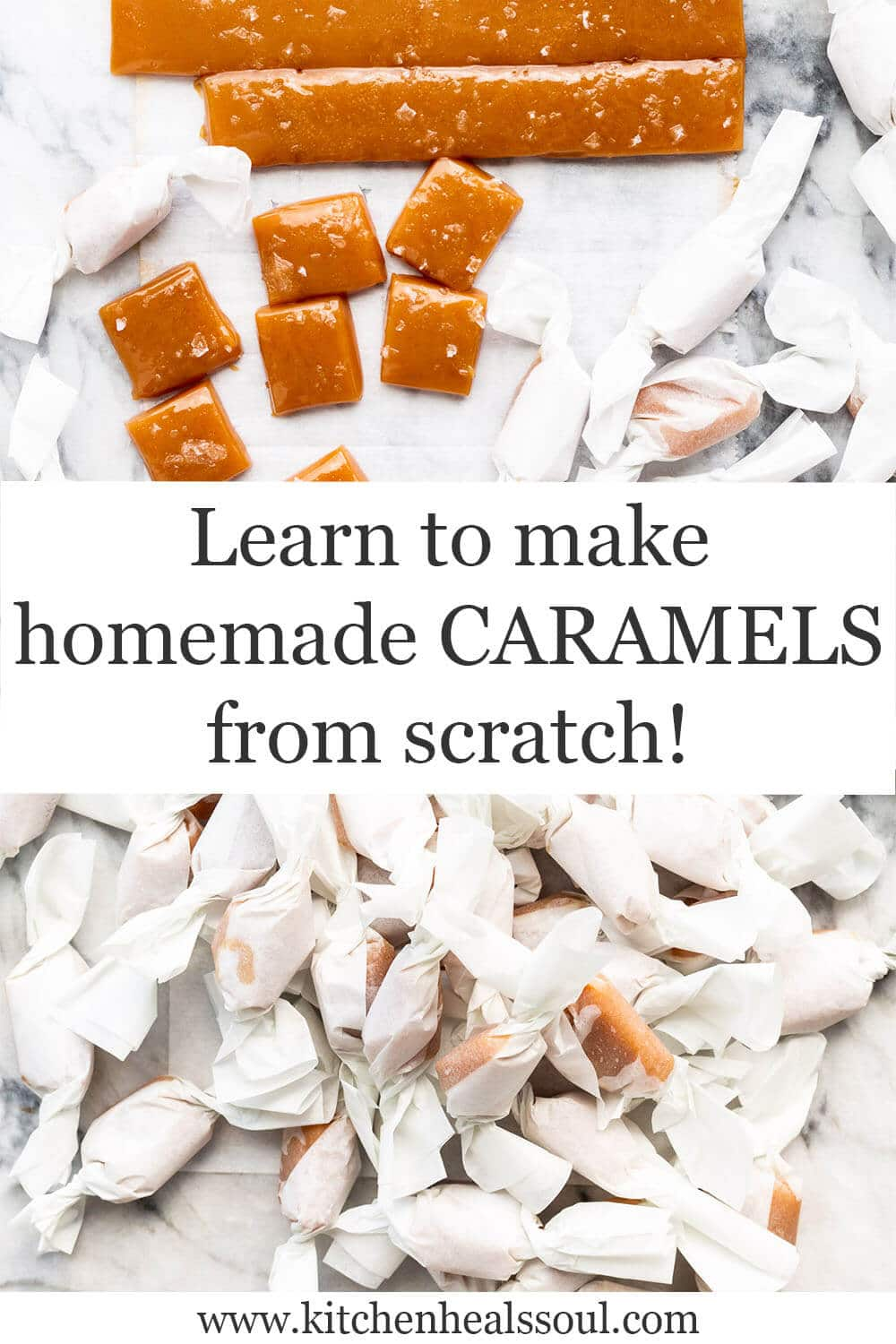 Cutting and wrapping homemade salted caramels as edible gifts
