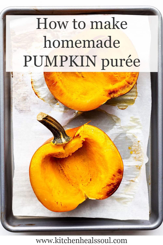 Roasted sugar pumpkin on a sheet pan, ready to make purée for baking.