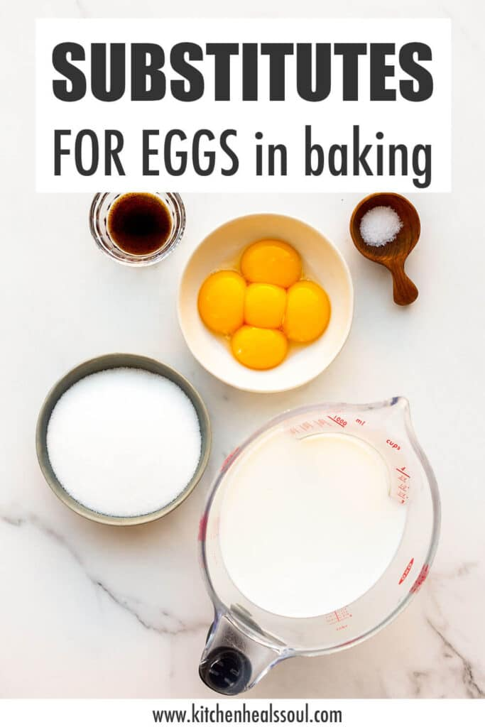 Ingredients measured out, including egg yolks, to illustrate substitutes for eggs in baking.