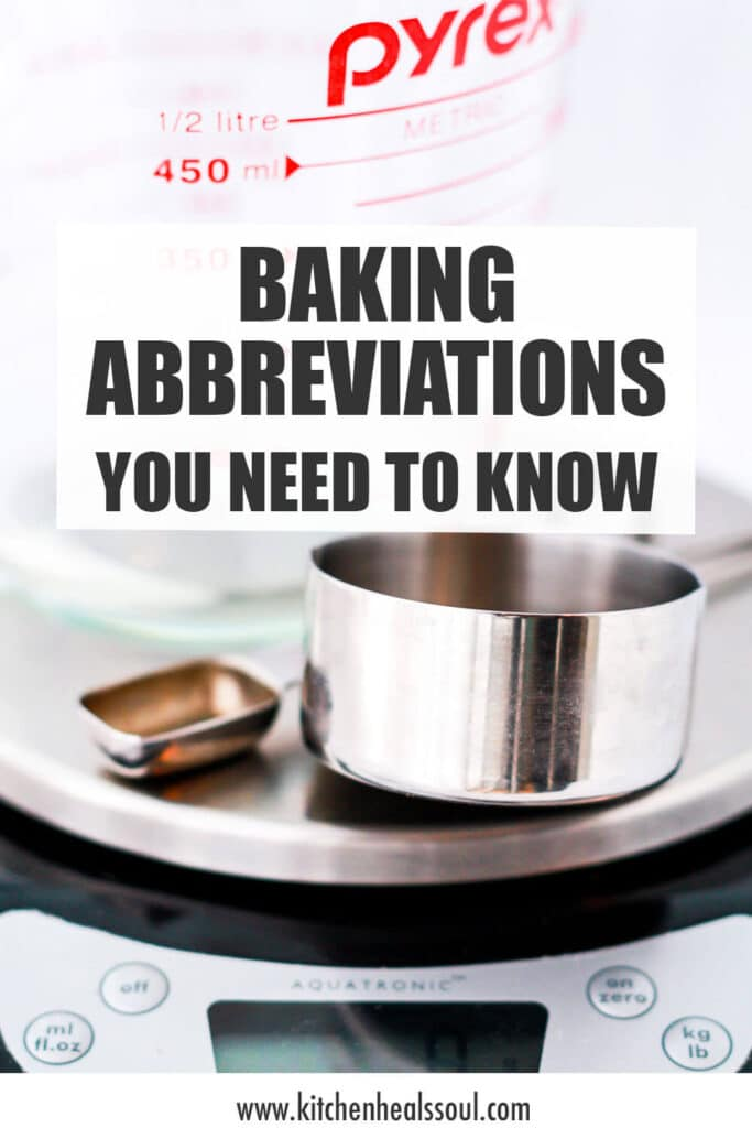 A scale with measuring cups and spoons to illustrate some commonly used baking abbreviations in recipes.
