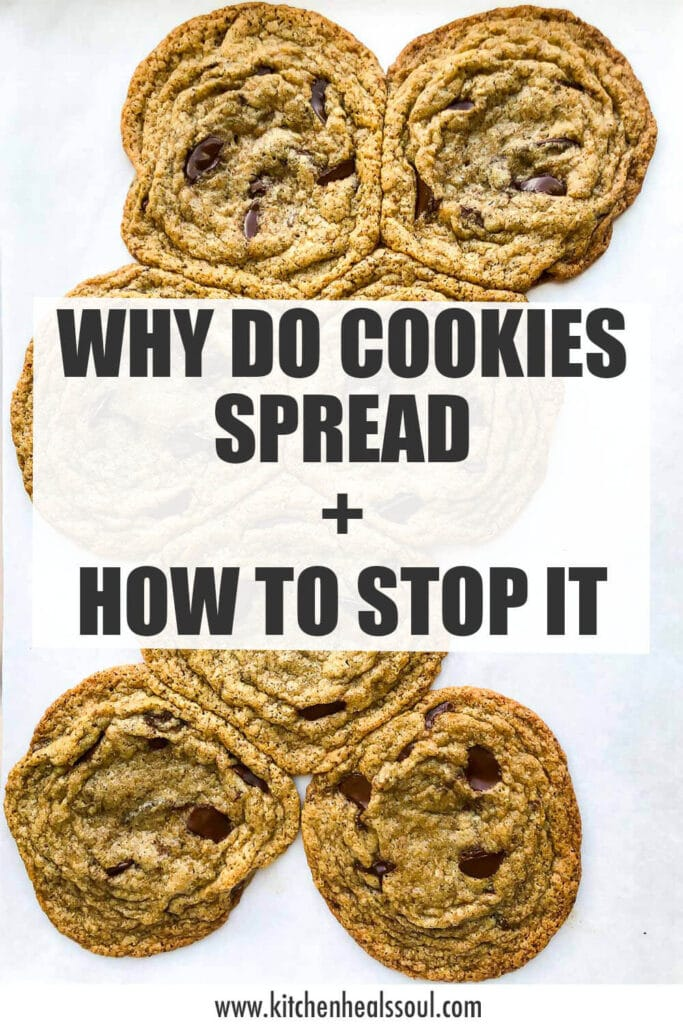 A sheet pan of cookies that spread thin in the oven and merged to show why cookies spread and how to stop it.