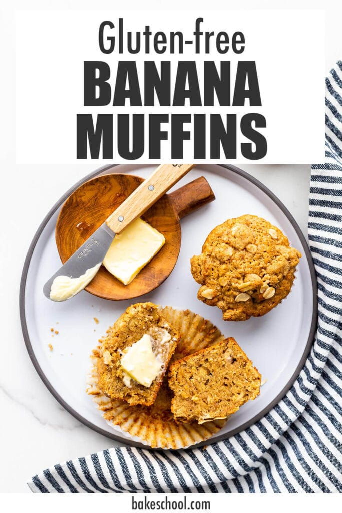 Banana muffins on a grey ceramic plate with butter and a striped napkin.