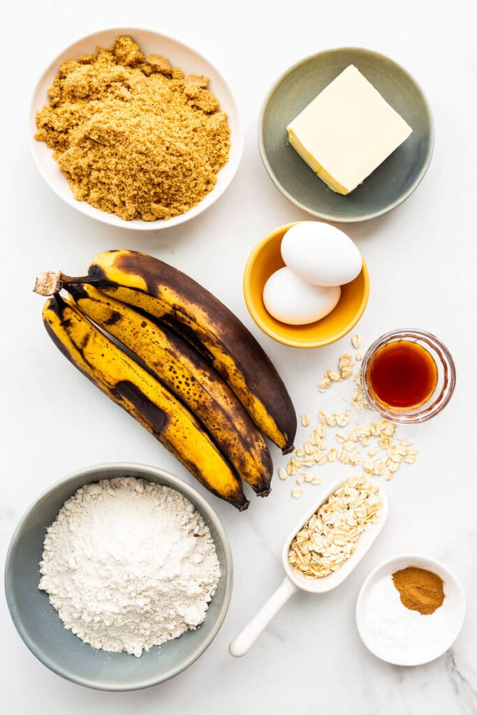 Ingredients for banana muffins with oats all weighed out and ready to mix.