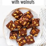 Brownies with walnuts on a plate.