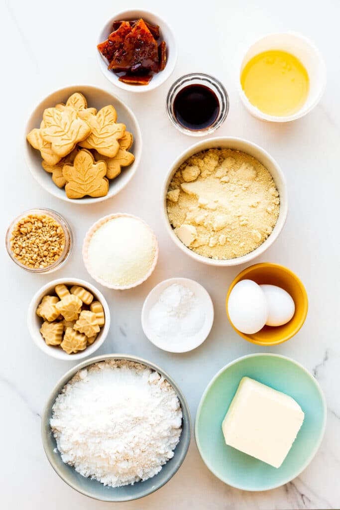 Ingredients to make maple cookies measured out and ready to be mixed.