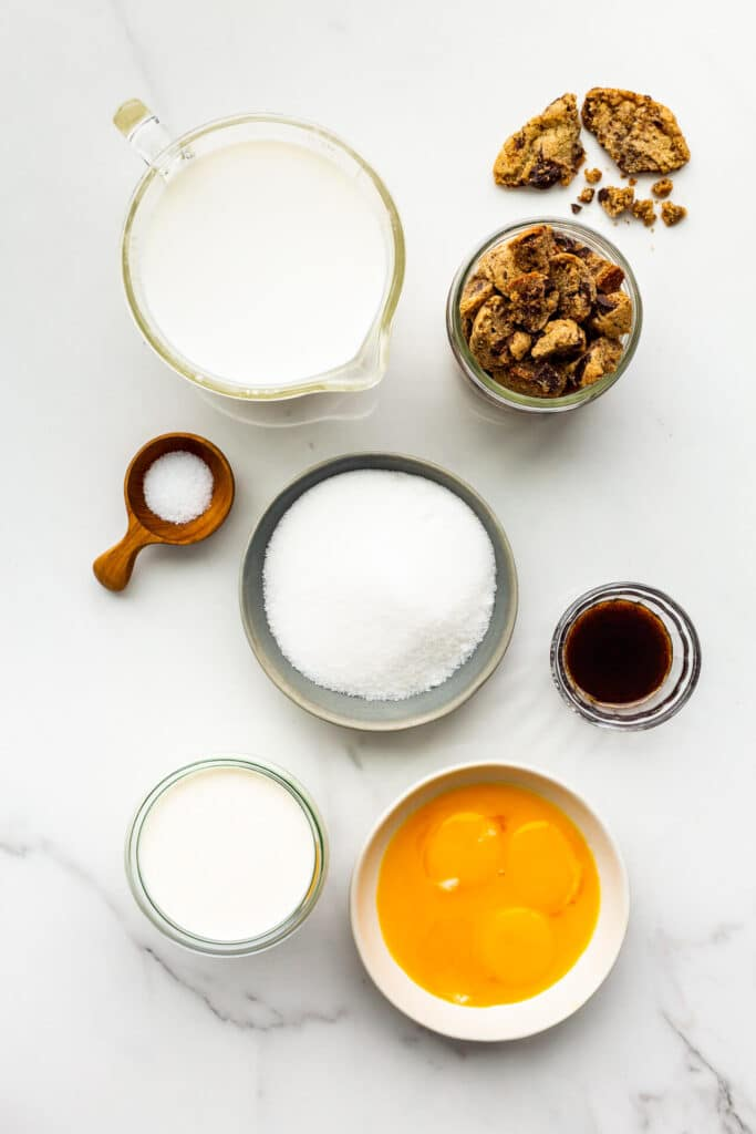 Ingredients to make cookie ice cream, measured out and ready to go.