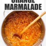A pot of homemade orange marmalade ready to be canned in jars.