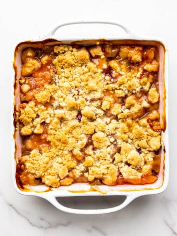 Freshly baked rhubarb crumble ready to be served.