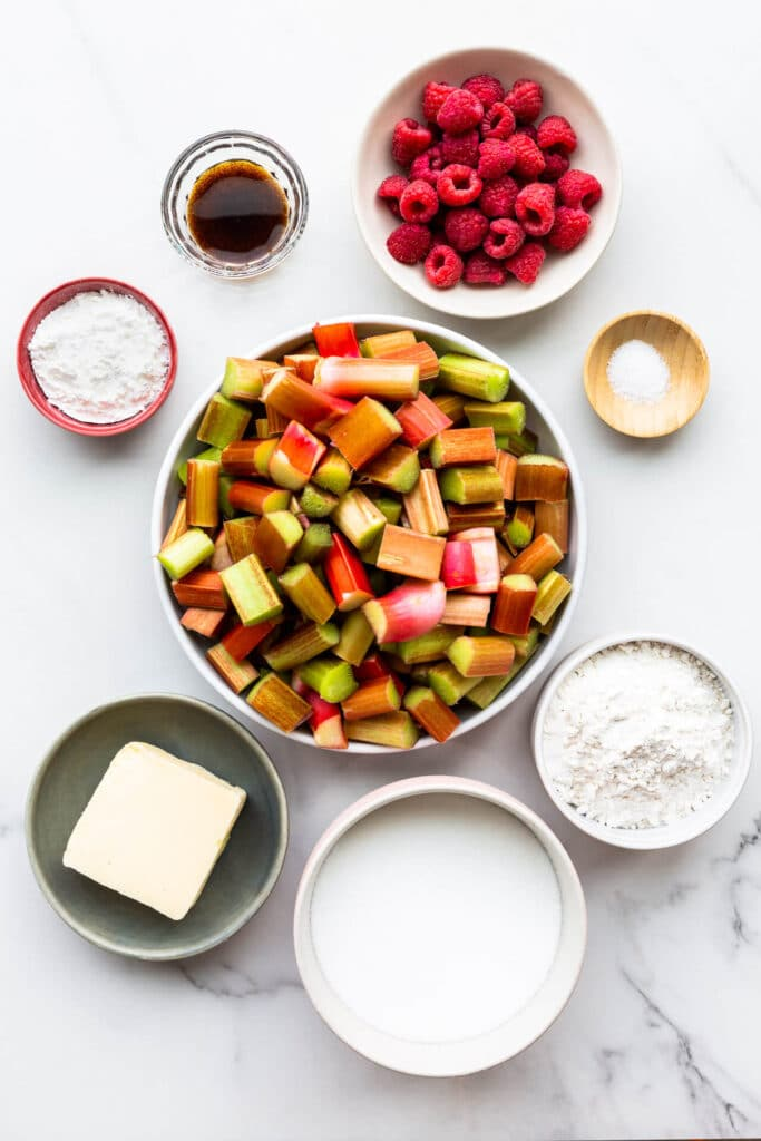 Ingredients to make a rhubarb crumble from scratch.