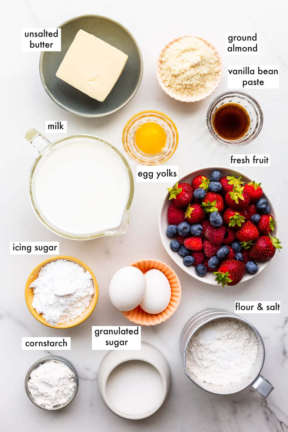 Ingredients to make a fruit tart from scratch measured out.