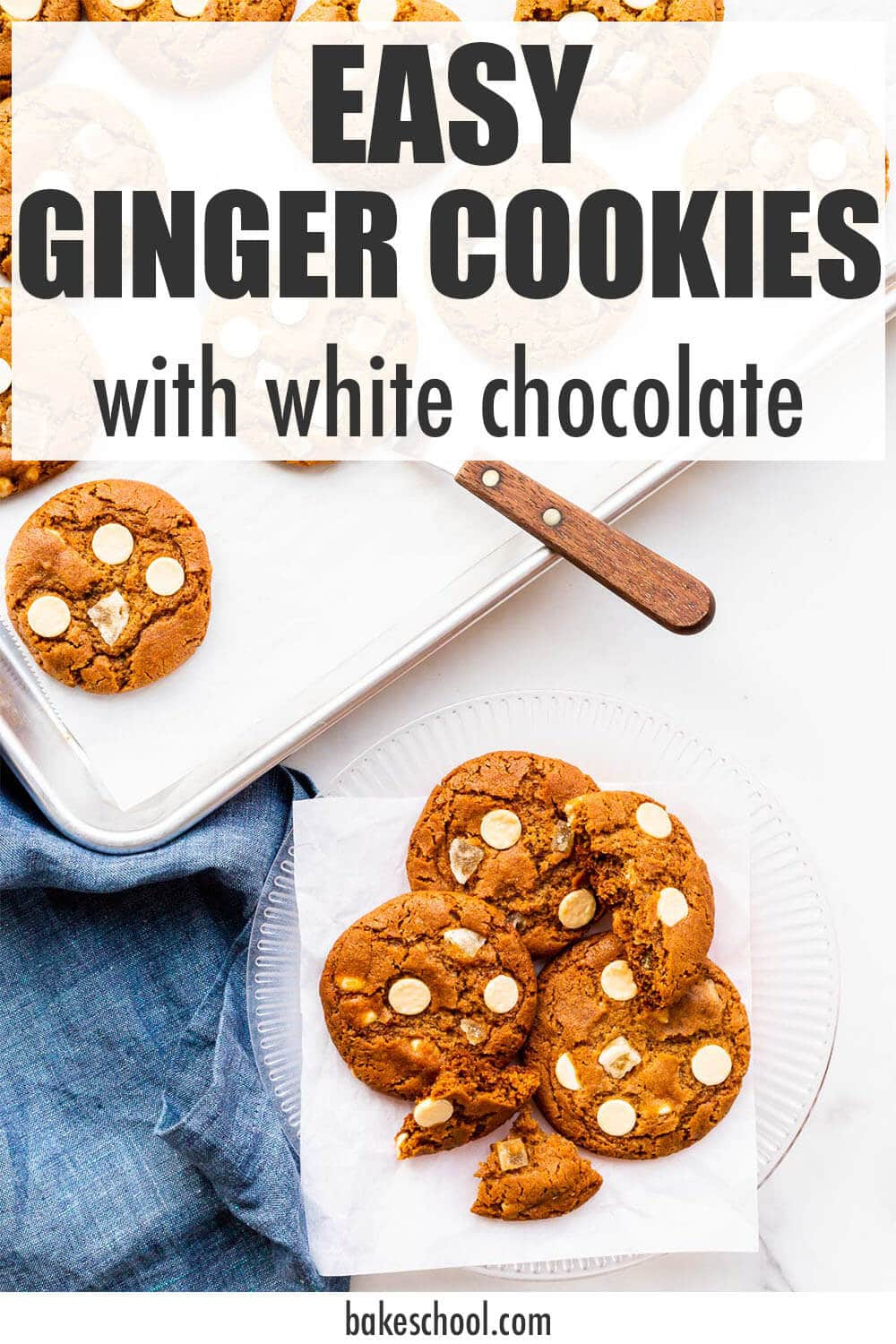 Transferring freshly baked ginger white chocolate cookies from the sheet pan to a plate.
