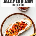 Pepper jam and cream cheese on bread.