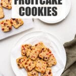 A plate of fruitcake cookies ready to be served.