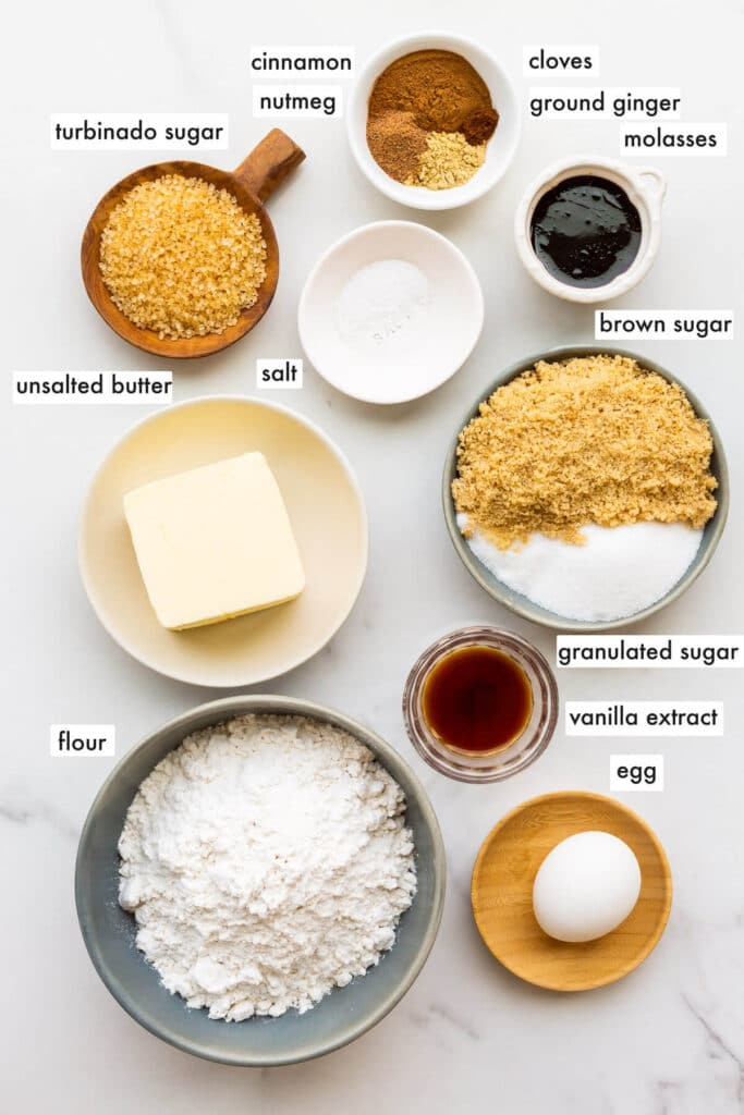 Ingredients to make easy gingerbread cookies measured out.