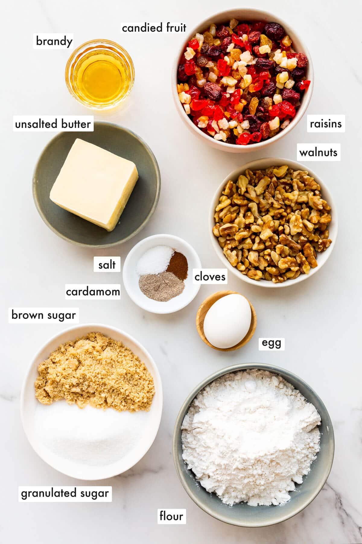 Ingredients to make fruitcake cookies measured out.