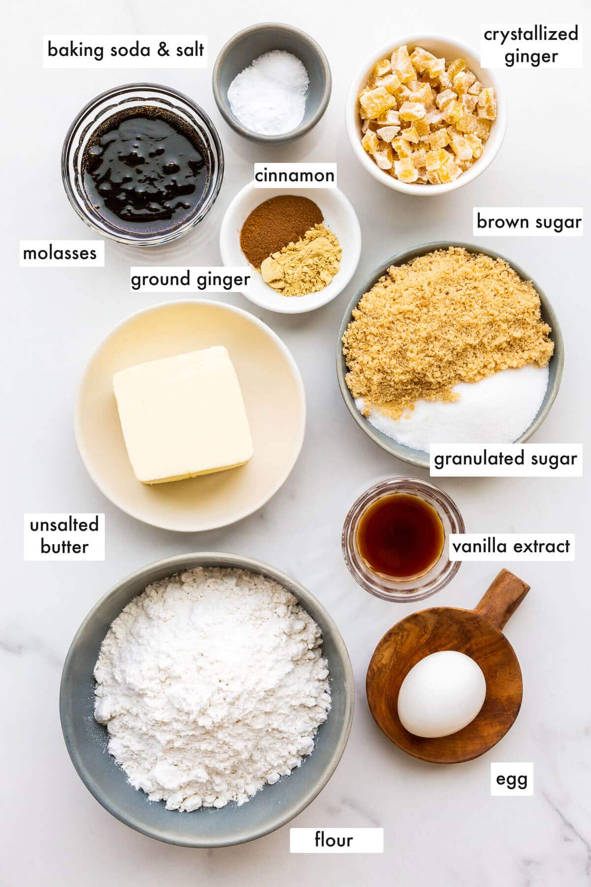 Ingredients to make ginger cookies measured out and ready to be mixed.