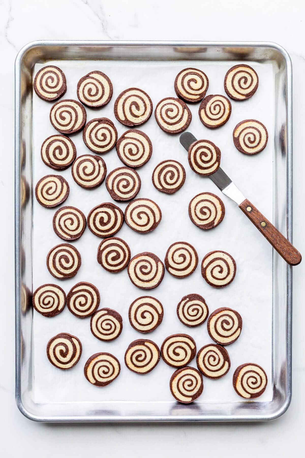A sheet pan of freshly baked chocolate and vanilla pinwheel cookies.