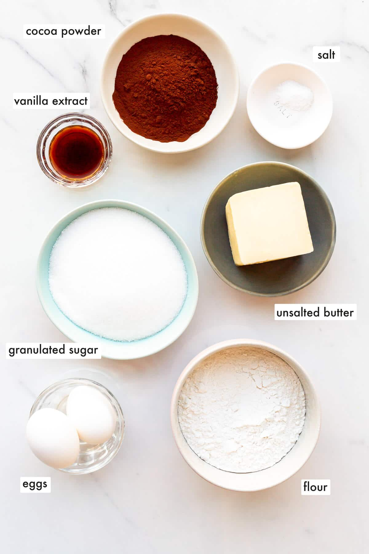 Ingredients to make pinwheel cookies measured out to make the cookie doughs.