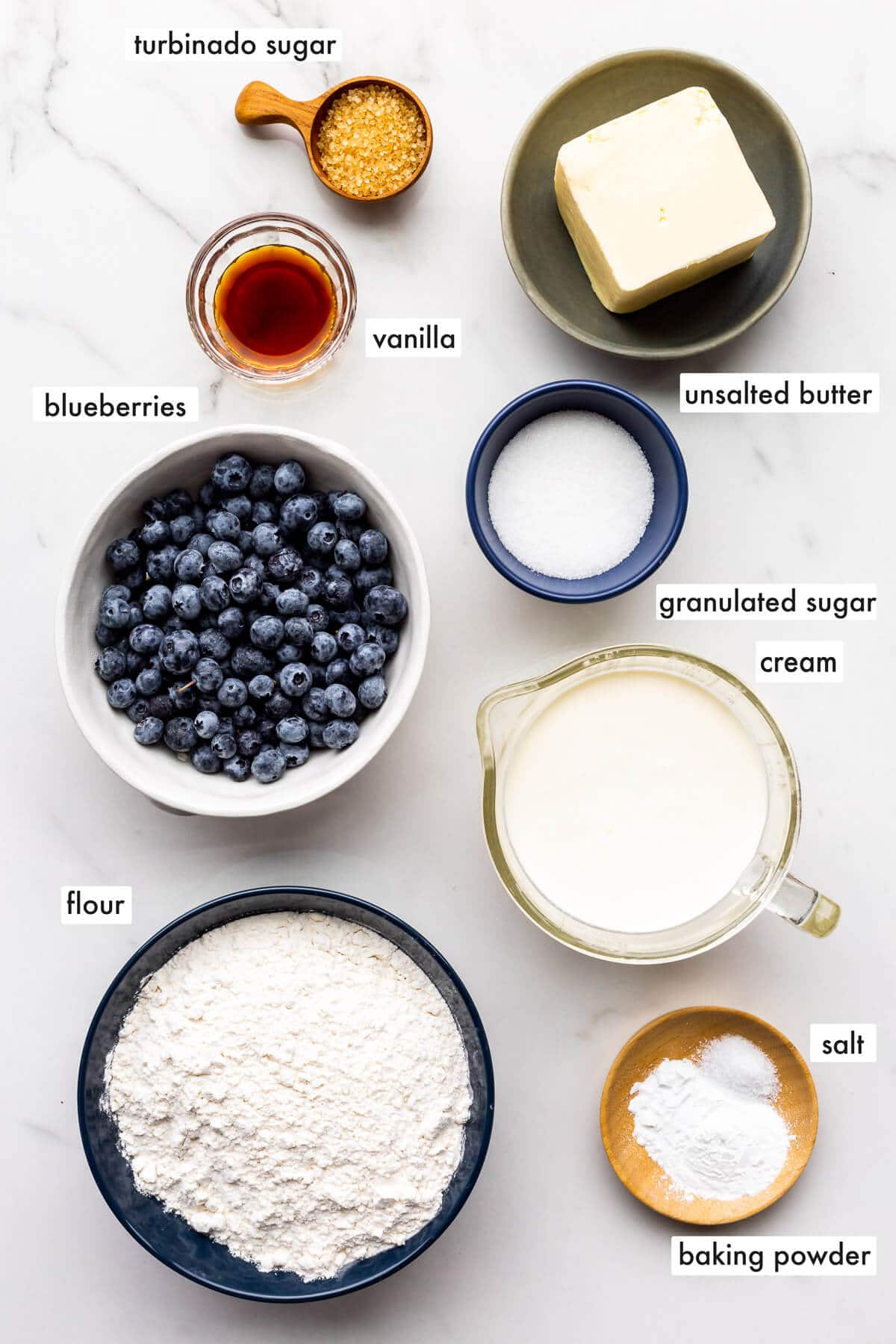 Ingredients to make blueberry scones measured out and ready to be mixed.