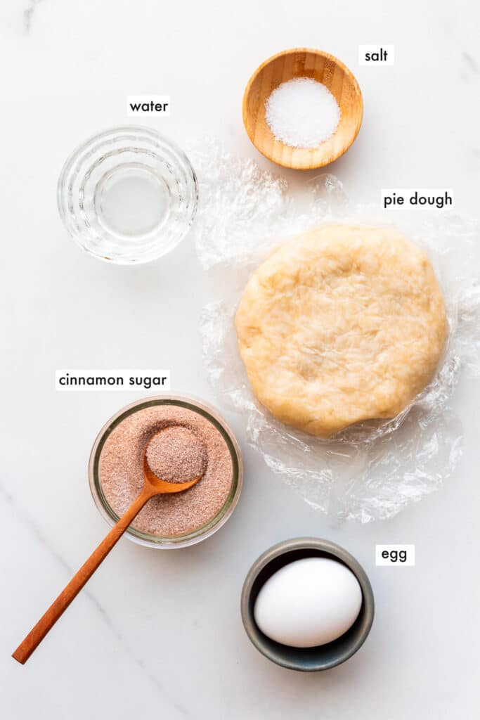 Ingredients to make pie crust cookies from leftover pie dough, measured out and ready to use.