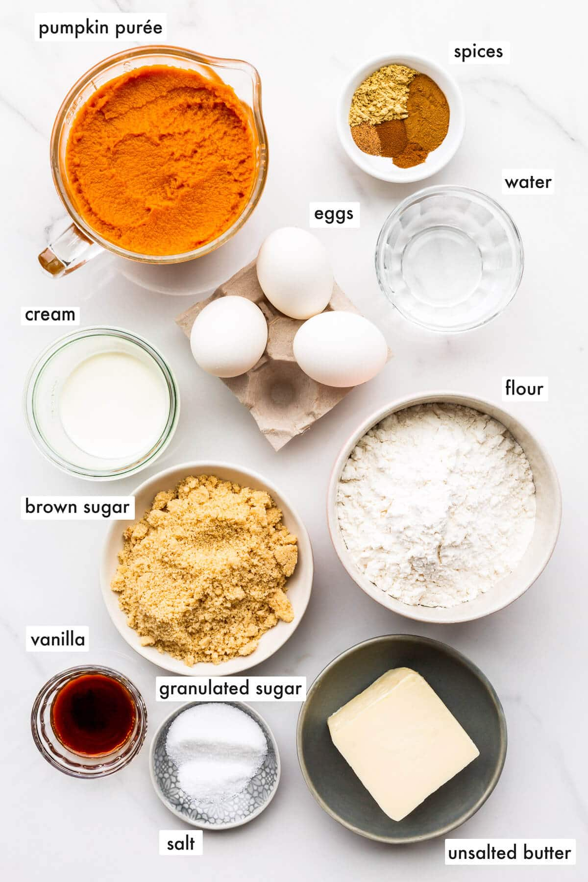 Ingredients to make a pumpkin pie without evaporated milk, measured out and ready to bake with.