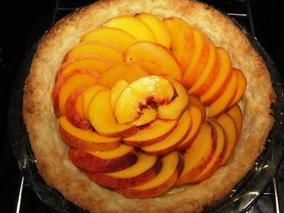 Fresh peaches arranged over blind-baked pie crust