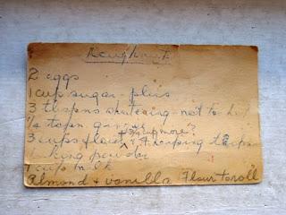Old handwritten recipe card for baking powder doughnuts